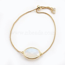 Adjustable Brass Bolo Bracelets, Slider Bracelets, with Opalite Link and Cubic Zirconia, Oval, Golden, 9-3/8 inches(23.9cm), 1mm(BJEW-JB03898-05)