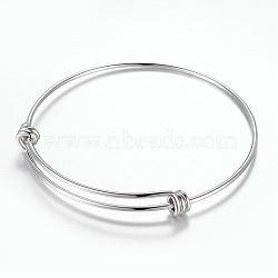 регулируемый 304 расширяемый браслет из нержавеющей стали, нержавеющая сталь цвет, 2-3 / 8 (61 мм)(BJEW-G515-05P)