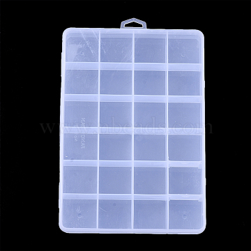 Plastic Bead Storage Containers, 24 Compartments, Rectangle, Clear, 19x13x2.2cm, Hole: 6x16.5mm; Compartment: 30x30mm(CON-Q031-02)