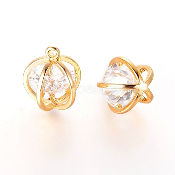 Real Gold Plated Round Brass+Cubic Zirconia Charms