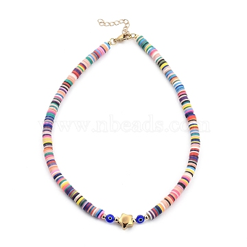 Handmade Polymer Clay Heishi Beaded Necklaces, with Evil Eye Lampwork Beads, Brass Round Beads, 304 Stainless Steel Star Beads and Lobster Claw Clasps, Colorful, 16 inches(41cm)(NJEW-JN03064-02)