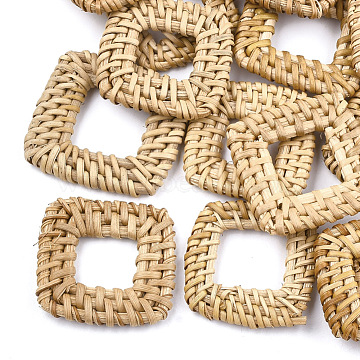 Handmade Reed Cane/Rattan Woven Linking Rings, For Making Straw Earrings and Necklaces,  Square, BurlyWood, 35~42x35~42x5~6mm, Inner Measure: 15~20x15~20mm(X-WOVE-T005-21A)