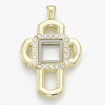 Alloy Magnetic Locket Big Pendants, with Rhinestone and Glass, Cross, Crystal, Golden, 51.5x33.5x9mm, Hole: 6x3.5mm; Inner Measure: 10.5x10.5mm(PALLOY-T052-08G)