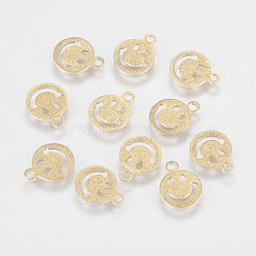 Iron Charms, Textured, Smile Face, Golden, 10x8x0.9mm, Hole: 1mm(X-IFIN-F144-06G-8mm)