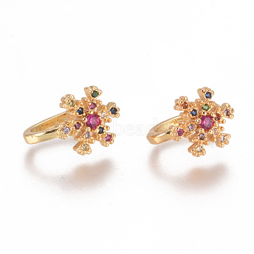 Golden Plated Brass Micro Pave Cubic Zirconia Cuff Earrings, Long-Lasting Plated, Snowflake, Colorful, 12x10x1.5mm(EJEW-L244-34G)