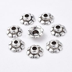 Tibetan Silver Bead Caps, Lead Free & Nickel Free & Cadmium Free, Flower, Antique Silver, about 8mm in diameter, 3mm thick, hole: 2mm(X-LF0900Y-NF)