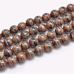 """Chapelets de perles en agate dZi tibétaines naturelles, rond, teints et chauffée, Darkkhaki, 8mm, trou: 1.2mm; environ 47 pcs/chapelet, 15""""(G-F354-13)"""