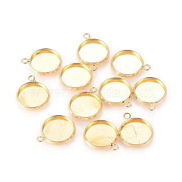 Brass Pendant Cabochon Settings, Plain Edge Bezel Cups, Flat Round , Lead Free & Cadmium Free, Golden, Tray: 12mm, 17x14x2mm, Hole: 1.5mm(X-KK-B534-D-G)