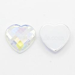 Ограненные сердце ab цвет прозрачный ab акрил горный хрусталь плоской задней кабошоны аксессуары для одежды, 10x10x3.5 мм(X-GACR-D005)