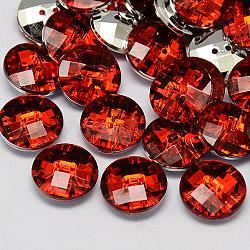 taiwan boutons en strass acrylique, facettes, 2-trou, disque, rouge, 10x4 mm, trou: 1 mm(BUTT-F022-10mm-03)