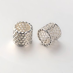 Brass Filigree Column Beads, Large Hole Beads, Silver Color Plated, 8.5x9mm, Hole: 7mm(X-KK-N0069-01S)