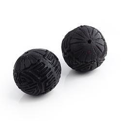 Ручной киноварь шарики, резные лакированные, круглые, чёрные, 16x15 мм, отверстие : 2 мм(X-CARL-R002-15mm-05)