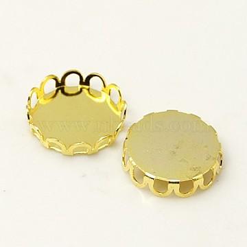 Brass Lace Edge Bezel Cups, Cabochon Settings, Cadmium Free & Lead Free, Flat Round, Golden,  Tray: 12mm(X-KK-C1764-4-G)