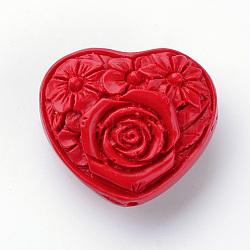 Cinnabar Beads, Heart Carved Flower, Red, 35.5x39.5x21.5mm, Hole: 2.5mm(X-CARL-S004-05)
