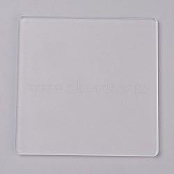 Plaque de pression acrylique transparente, carrée, clair, 10x10x0.3 cm(TACR-WH0001-04)