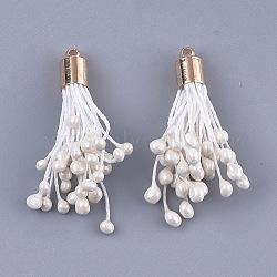 coton pendentif pompon décorations, avec les résultats en laiton, or et de lumière, blanc crème, 38~43x6 mm, trou: 1.6 mm(FIND-T052-07)