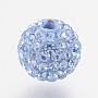 8mm Round Polymer Clay+Czech Rhinestone Beads(RB-F022-PP9-8mm-TB13)