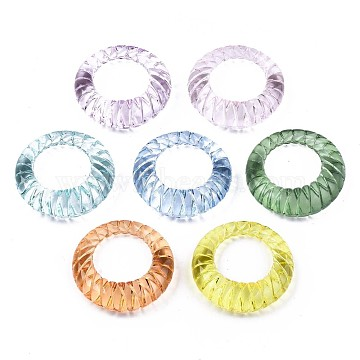Transparent Acrylic Finger Rings, Textured, Mixed Color, US Size 6 3/4(17.1mm)(X-RJEW-T010-05)