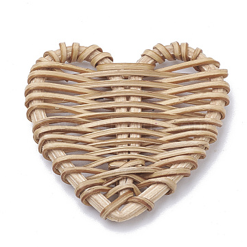Handmade Reed Cane/Rattan Woven Beads, For Making Straw Earrings and Necklaces, No Hole/Undrilled, Heart, BurlyWood, 51~58x47~57.5x5~6mm(WOVE-Q075-12)