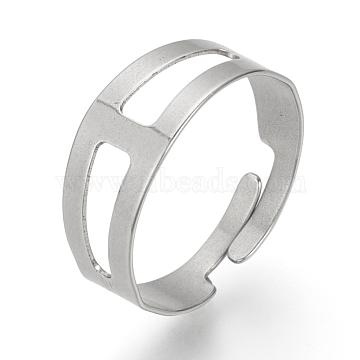 Adjustable 304 Stainless Steel Finger Ring Settings, Stainless Steel Color, 18mm(STAS-R094-18)