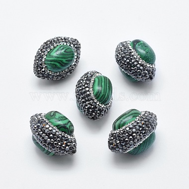 26mm Oval Malachite Beads