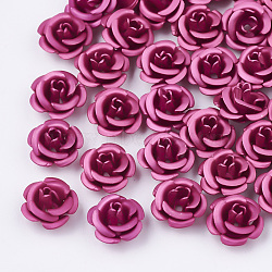Aluminum Beads, Frosted, Long-Lasting Plated, 5-Petal Flower, Fuchsia, 6~6.5x4mm, Hole: 0.8mm(X-FALUM-T001-03A-25)
