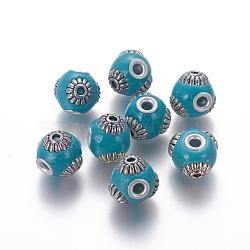 Perles d'Indonésie main, avec noyau en laiton et alliage, rondelle, argent antique et argent, darkturquoise, 15x12~13 mm, trou: 3.5 mm(IPDL-F028-14A)