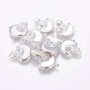 Alloy Cabochon Connector Settings, Bird, Silver Color Plated, Lead Free, Nickel Free and Cadmium Free,  about 22mm long, 18mm wide, 2mm thick, hole: 2mm(EA11604Y-NFS)