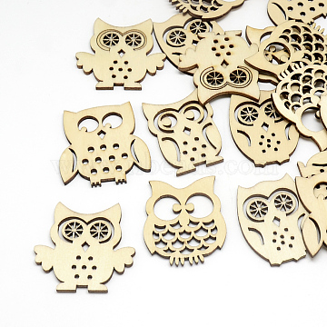 Wood Cabochons, Owl, Mixed Shape, Navajo White, 39x29~41x3mm(X-WOOD-Q021-08)