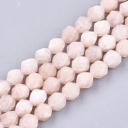 натуральный розовый морганит бисер нитей, звезды вырезать круглые бусы, граненый, 8x7x7 mm, отверстия: 1 mm; о 48 шт / прядь, 14.9(X-G-T108-28B)