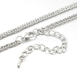 Iron Double Link Chain Necklace Making, with Brass Lobster Claw Clasps and Iron End Chains, Platinum, 28.7 inches(MAK-J009-12P)