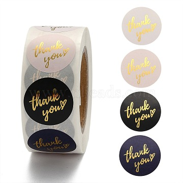 Thank You Theme Self-Adhesive Paper Stickers, Gift Tag, for Party, Decorative Presents, Round, Colorful, 25mm; 500pcs/roll(X-DIY-K027-B03)