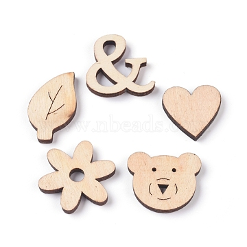 Wood Cabochons, Laser Cut Wood Shapes, with Adhesive Back, Heart & Leaf & Flower & Bear & Ampersand, Blanched Almond, 24.5~32.5x19~30x3~4mm, 5pcs/set(WOOD-D021-22B)