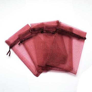 Organza Bags, High Dense, Rectangle, FireBrick, 15x10cm(OP-T001-10x15-01)