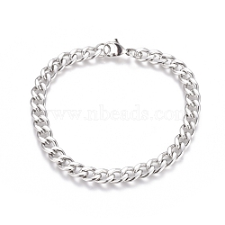 Unisex 304 Stainless Steel Curb Chain/Twisted Chain Bracelets, with Lobster Claw Clasps, Stainless Steel Color, 8-1/2 inches(21.5cm)(X-STAS-D0002-40P)