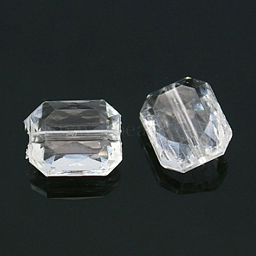 Faceted Rectangle Transparent Clear Acrylic Beads, for Name Bracelets & Jewelry Making, 10x12x6mm, Hole: 1mm(X-TACR-524-01)