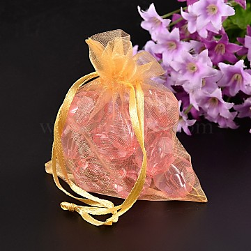Organza Bags, Goldenrod, About 8x10cm(X-OP106-1)