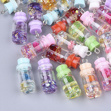 Glass Bottle Pendant Decorations, with Resin Rhinestone & Stopper, Dried Flower and Iron Findings, Platinum, Mixed Color, 26~27x9.5~10mm, Hole: 1.8mm(X-GLAA-S181-05)