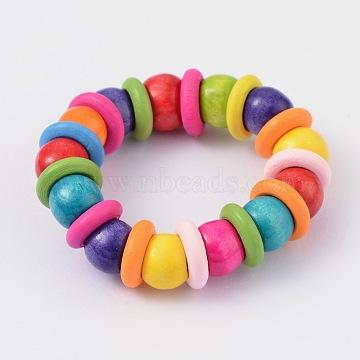 Kids Bracelets Wood Beaded Stretch Bracelets, Colorful, 40mm(BJEW-JB02027)