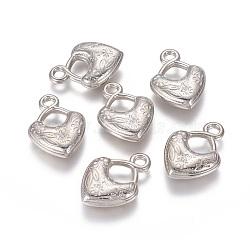 пластмассовые подвески ccb, сердце, платина, 33x24x7 mm, отверстия: 3.5 mm(CCB-P006-014P)