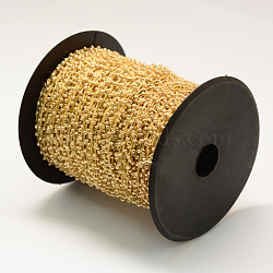 plated rocailles cordons, avec des câblés en polyester, avec des bobines de couleur aléatoire et des cordes en nylon, Sandybrown, 2 mm; sur 100 mètres / rouleau(OCOR-R039-J03)
