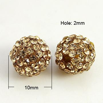 10mm Round Resin+Rhinestone Beads