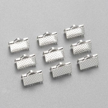 Iron Ribbon Crimp Ends, Silver Color Plated, about 7mm long, 10mm wide, hole: 2mm(X-E143Y-S)