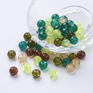 Baking Painted Crackle Glass Beads, Choc-Mint Mix, Round, Mixed Color, 8~8.5x7.5~8mm, Hole: 1mm, about 100pcs/bag(DGLA-X0006-8mm-10)