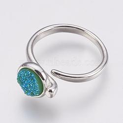круглые манжеты, с медными выводами, плоские круглые, Размер 8, платина, mediumspringgreen, 18 mm(RJEW-F078B-09P)