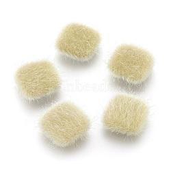 cabochons recouverts de fausse fourrure, avec des conclusions d'alliage plaqué couleur argent, carré, lightkhaki, 13x13x5 mm(WOVE-F021-04S-03)