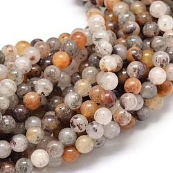 """Quartz lodolite naturelle chapelets de perles rondes, 6mm, trou: 1mm; environ 62 pcs/chapelet, 15.5""""(G-P075-27-6mm)"""