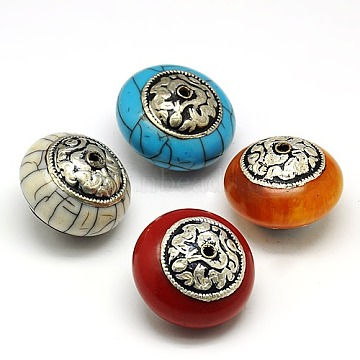 Handmade Tibetan Style Beads, Thai 925 Sterling Silver with Turquoise, Coral and Beeswax, Flat Round, Antique Silver, Mixed Color, 27x18mm, Hole: 1.5mm(TIBEB-K023-02-27mm)