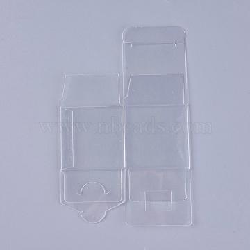 Transparent Plastic PVC Box Gift Packaging, Waterproof Folding Box, Square, Clear, 15.7x10x0.1cm; Box: 5x5x5cm(CON-WH0060-01A)