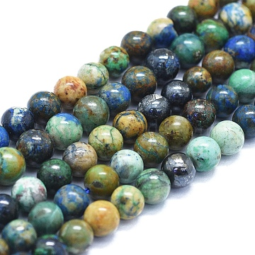 Natural Chrysocolla Beads Strands, Round, 6mm, Hole: 1mm, about 63~70pcs/Strand, 15.35 inches(39cm)(G-E561-17-6mm)